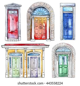 Collection of hand drawn vintage doors. Watercolor style vector illustration