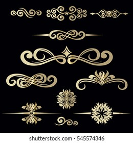 Collection of hand drawn vintage frame for text decoration in vector in gold on black background