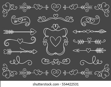 Collection of hand drawn vintage swirl ornaments full of hearts. Perfect for Valentine's day invitation cards and page decoration. Vector illustration.