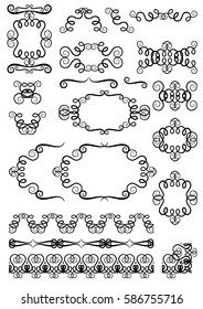 Collection of hand drawn vintage swirl ornaments and elements  for invitation cards and page decoration. Vector illustration.