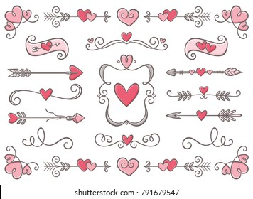 Collection of hand drawn vintage swirl ornaments full of hearts. Valentine's day special pack design elements. Perfect for Valentine's day invitation cards and page decoration. Vector illustration.