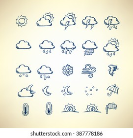 Collection of hand drawn weather forecast icons
