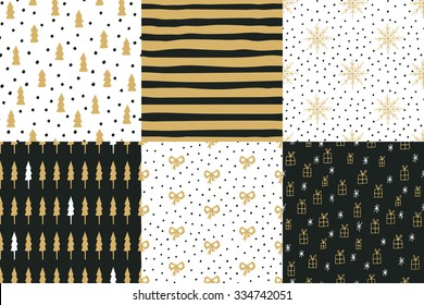 Collection of hand drawn winter holidays seamless patterns with Christmas trees, stripes, snowflakes, bows, gift boxes and Polka dots.