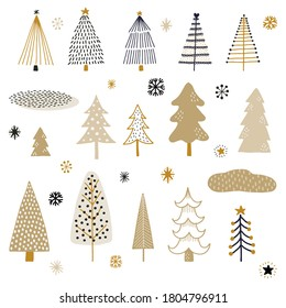 Collection of hand drawn winter trees, stars, and snowflakes. Whimsical doodles.