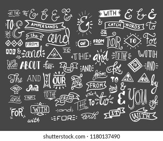 Collection of hand lettered ampersands and catchwords isolated on white background. Great vector design set for wedding invitations, save the date cards and other stationary type of design