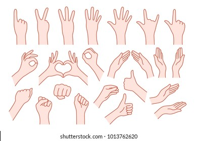 collection hand shape like gesture. concept of stop help or rock symbol v, right or left, animated number one, two, three, four, five, zero. simple ley stroke logo graphic art design isolated on white