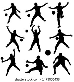 Collection of handball goalkeeper vector silhouette isolated on white background. Soccer goalkeeper silhouette vector. Defender sportsman position. Save penalty. Man on goal. Active sport boy.