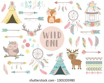 Collection of hand-drawn boho style icons. The image of animals, arrows, feathers, flowers, wigwam, dreamcatcher. Vector by national american motifs for baby, cards, flyers, posters, prints, holiday