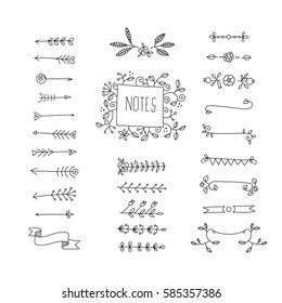 Collection of handdrawn borders made and arrows. Design elements for cards and invitations. Vector illustration