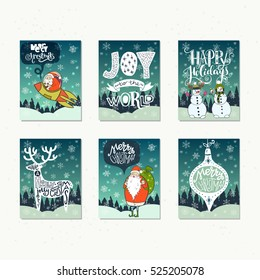 collection of handdrawn christmas card templates hand lettering with christmas saying quote and greeting