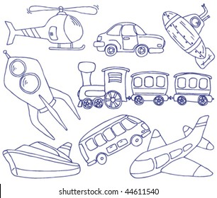 Collection of hand-drawn doodle on the transport theme