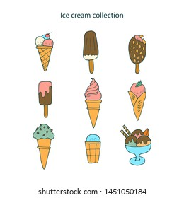 Collection of hand-drawn ice cream