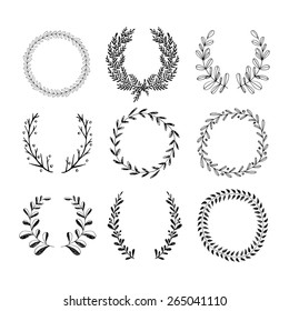Collection of handdrawn laurels and wreaths. Floral wreath with copyspace for your text. Save the date, wedding or invitation card design element. Valentineâ??s card design template.