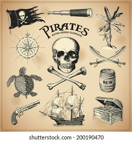 Collection of hand-drawn pirates design elements