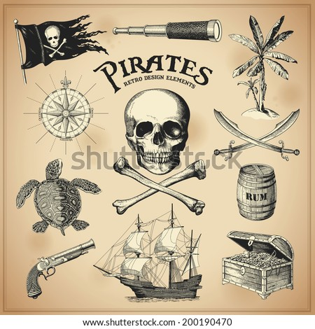 Collection of handdrawn pirates