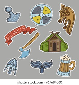 Collection of handdrawn stickers with viking symbols such as viking ship, sword, viking, raven, mugs, shield, axe and ets.Colored illustrations which made in cartooned style.