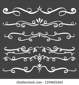 Collection of Handdrawn swirls and curles on dark background. Design element of ornaments for wedding cards, in invitations, save the date cards, flyers for restaurant