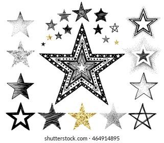 Collection of hand-drawn and texture foil stars, vector doodles illustration for your design.