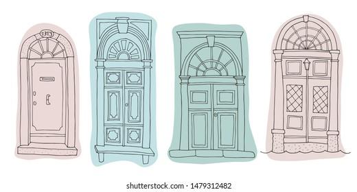 Collection of hand-drawn venetian doors