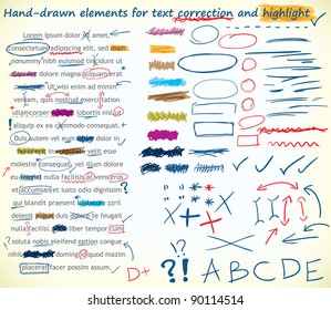 Collection of hand-drawn,text correction and highlighting elements