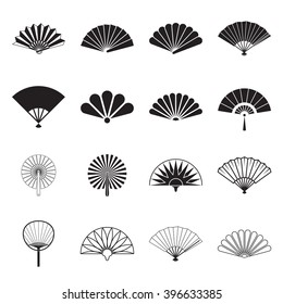 Collection of handheld fan icons isolated on a white background. Icons of folding and rigid fans. Vector illustration.