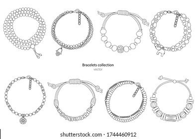 Collection of hand-made bracelets in ethnic style. Vector illustration isolated on a white background.