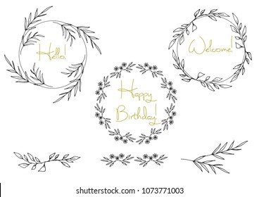 A collection of handmade sketches with plants. Monochrome image of wild flowers and herbs. Black and white elements for coloring. Vector illustration.