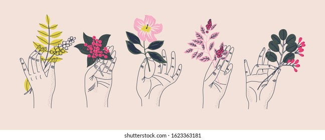 Collection of hands holding bouquets or bunches of blooming flowers. Bundle of floral decorative design elements isolated on light background. Set of elegant summer gifts. Flat vector illustration.