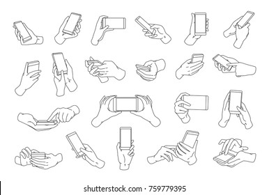 Collection of hands holding modern smartphone drawn with black contour lines. Bundle of outline drawings of palms and phones isolated on white background. Vector illustration in monochrome colors.