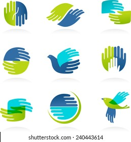 Collection of Hands icons and symbols. Vector illustrations