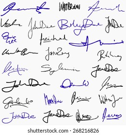 Collection of handwritten signatures. Personal contract fictitious signature set.