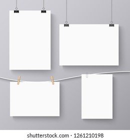 Collection of hanging banners with different clips template