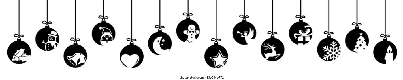 collection of hanging baubles colored black with different abstract icons for christmas and winter time concepts