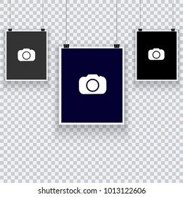 Collection of hanging photo frames. Frames of instant photo on a transparent background of white and gray squares. Template for your design. Vector illustration