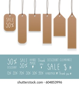 Collection of hanging tags with rope. Kraft paper labels. Vector illustration.