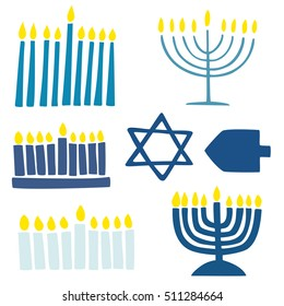 Collection of hanukkah symbols