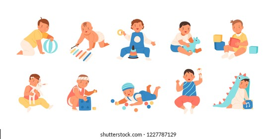 Collection of happy adorable babies playing with various toys - building kit, ball, rattle. Set of playful infant children isolated on white background. Flat cartoon colorful vector illustration.
