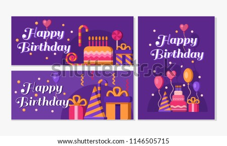 collection happy birthday banners purple set stock vector royalty