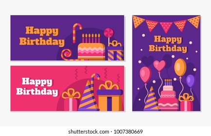 Collection of happy birthday banners. Set of greeting templates. Invitation cards to the party. Vector clipart: cake, balloons, candy, gift, hat, party blower. Congratulations on the birthday.