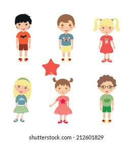 Collection of happy children. Vector illustration
