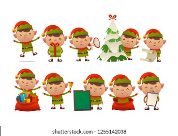 Collection of happy cute Christmas elf isolated vector on white background