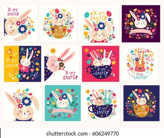 Collection of Happy easter cards. Holiday easter illustrations in cartoon style. Stylish holiday backgrounds.