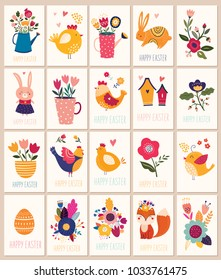 Collection of Happy Easter cards and tags