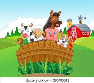 Collection of happy farm animals