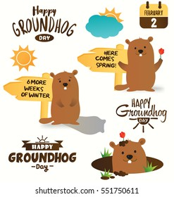Collection of Happy Groundhog Day Typographic Vector Design. Set of Marmot Cartoon Vector Illustrations Forecasting the Weather