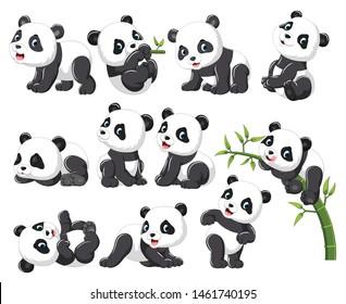 Kollektion glücklicher Panda mit verschiedenen positiver Haltung