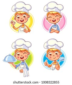 Collection happy smiling Chef Cook. Child in a cook's cap and with a towel, holds a ladle. Kid makes gesture OK, holding dish with food. Logo design template for baby food. Funny cartoon character