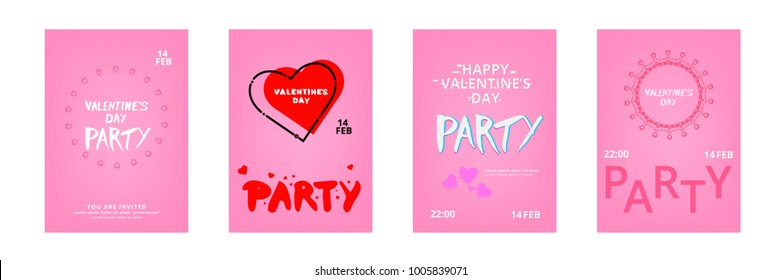 Collection of Happy Valentine's Day Party Banners. Template for Graphic Design - Invitation, Poster, Flyer, Brochure, Card. Vector Illustration.