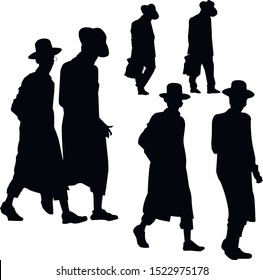 A collection of Hasidic Jews silhouettes. Jew in talit-katan and tzitzit. Religious Jew in traditional dress. The man in the hat. Isolated vector illustration black and white color.
