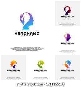 Collection Head care logo vector, Head intelligence logo designs concept vector
